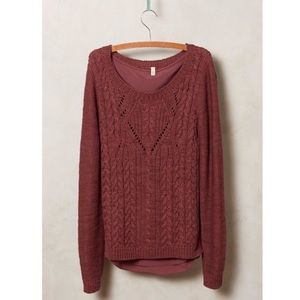 Anthropologie Moth Ella Cable Knit Layer Sweater